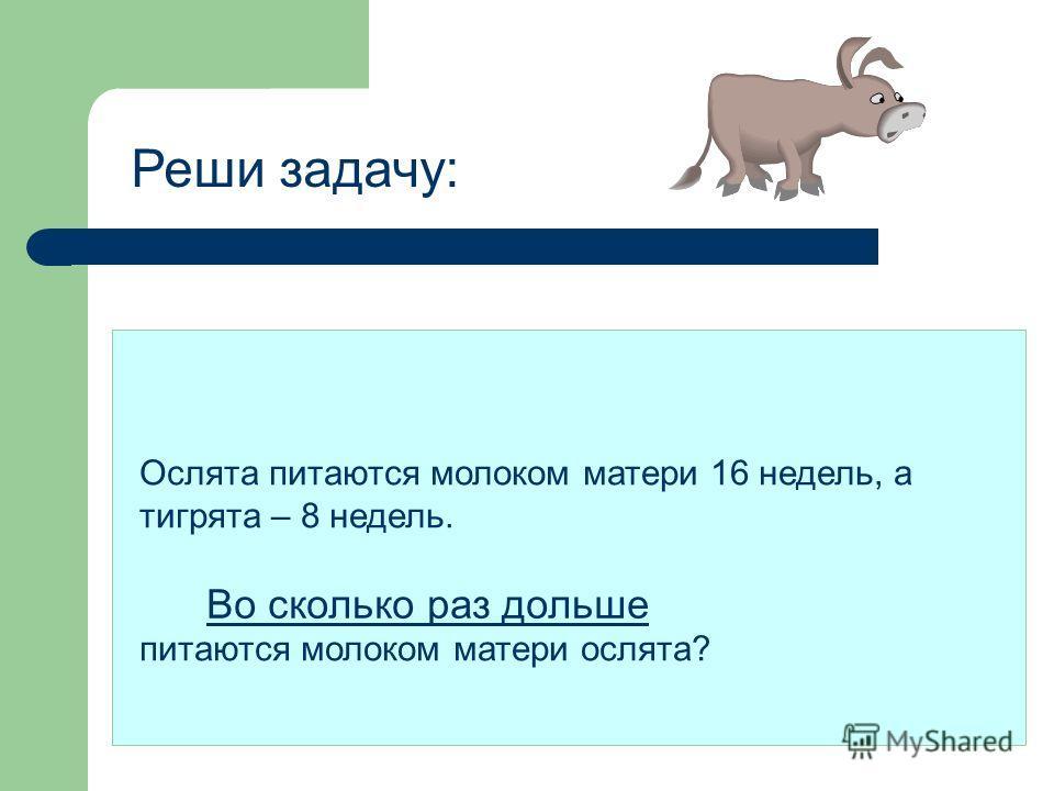 Решение: 16 : 8 = в 2 ( раза ) Ответ: тигрята питаются молоком матери в 2 раза меньше, чем ослята.