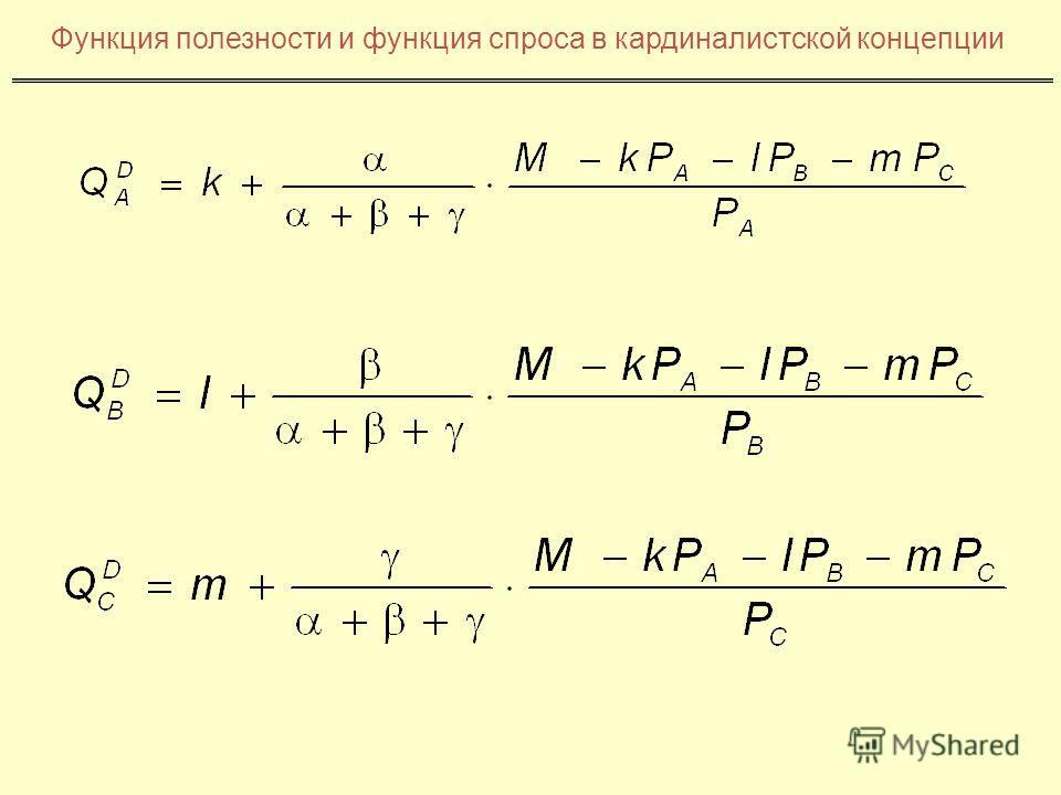 Функция полезности и функция спроса в кардиналистской концепции