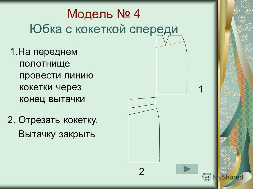 Модель 3 Прямая юбка с рельефными линиями 1.Провести линию на уровне вытачки 2. Нижнюю боковую часть разделить на равные полосы 3. Развернуть на нужную величину 1 2