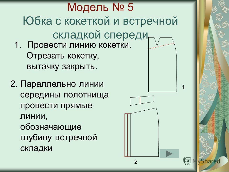 Модель 4 Юбка с кокеткой спереди 1.На переднем полотнище провести линию кокетки через конец вытачки 2. Отрезать кокетку. Вытачку закрыть 1 2