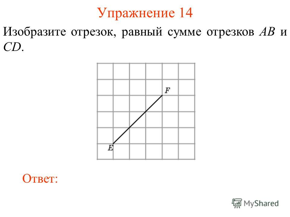 Упражнение 14 Изобразите отрезок, равный сумме отрезков AB и CD. Ответ: