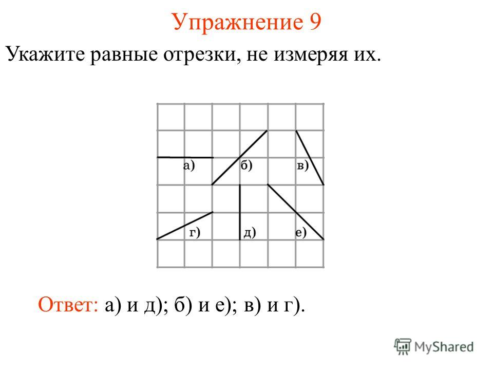 Упражнение 9 Укажите равные отрезки, не измеряя их. Ответ: а) и д); б) и е); в) и г).