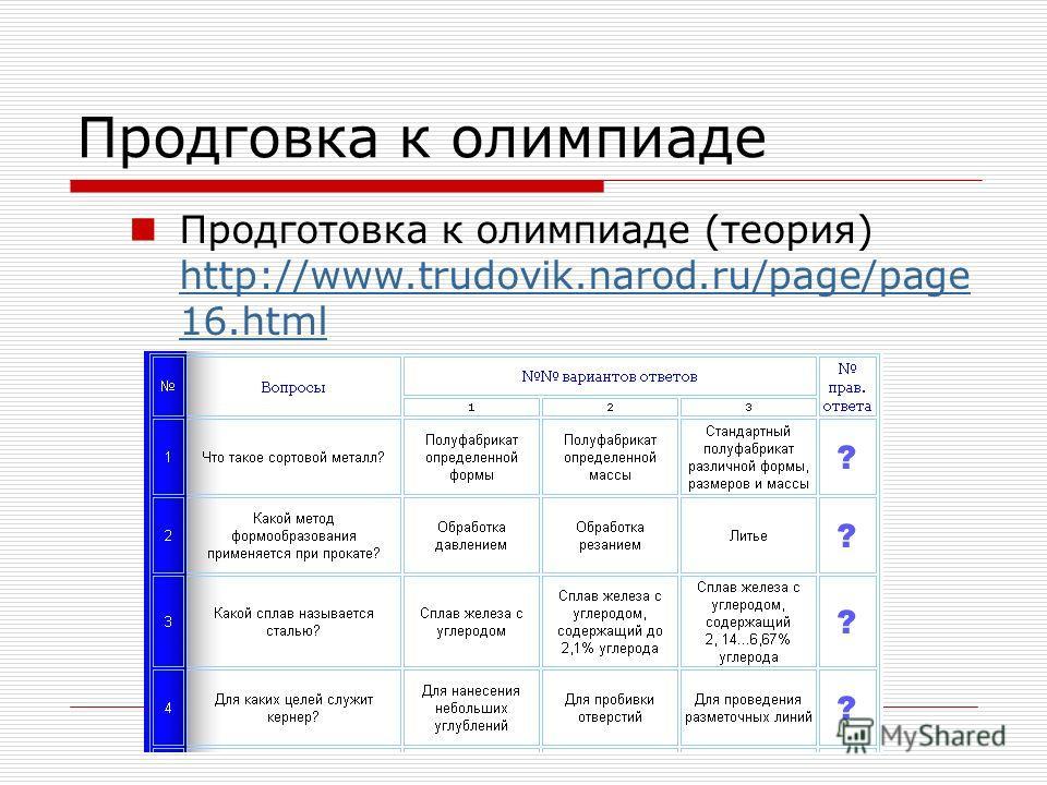 Продговка к олимпиаде Продготовка к олимпиаде (теория) http://www.trudovik.narod.ru/page/page 16.html http://www.trudovik.narod.ru/page/page 16.html