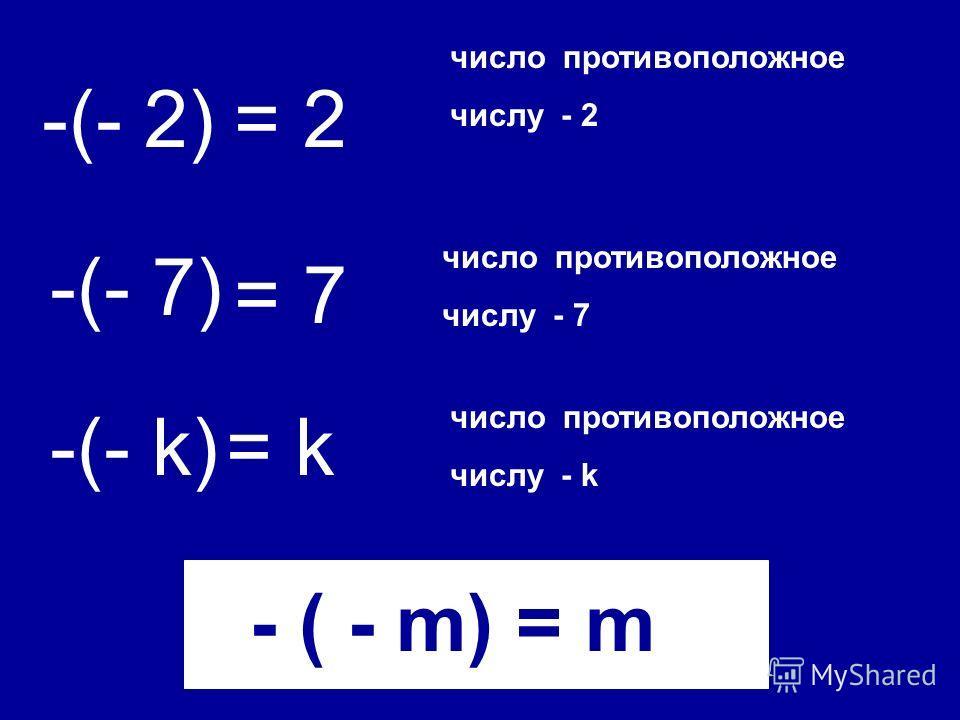 - ( - m) = m -(- 2) число противоположное числу - 2 = 2 -(- 7) -(- k) = 7 = k число противоположное числу - 7 число противоположное числу - k