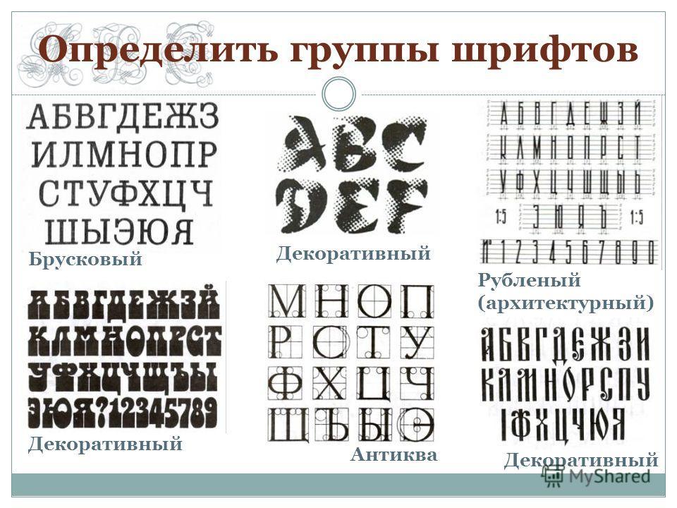 Определить группы шрифтов Брусковый Декоративный Рубленый (архитектурный) Антиква
