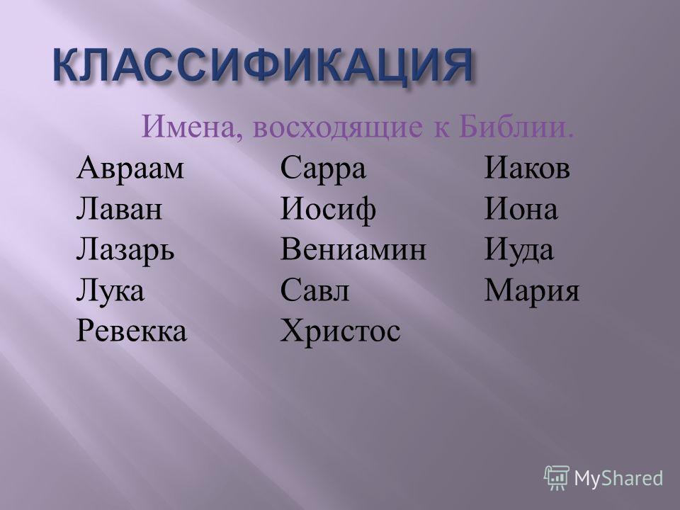 Имена, восходящие к Библии. АвраамСарраИаков ЛаванИосифИона ЛазарьВениаминИуда ЛукаСавлМария РевеккаХристос