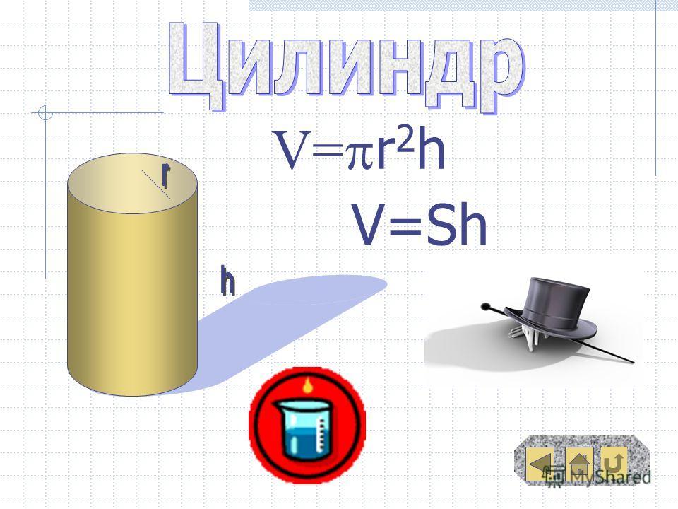 V= r 2 h V=Sh