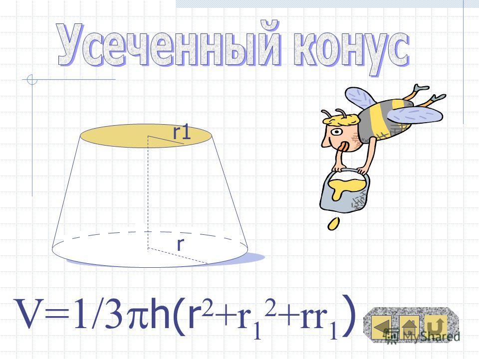 r r1 ) V=1/3 h(r 2 +r 1 2 +rr 1 )