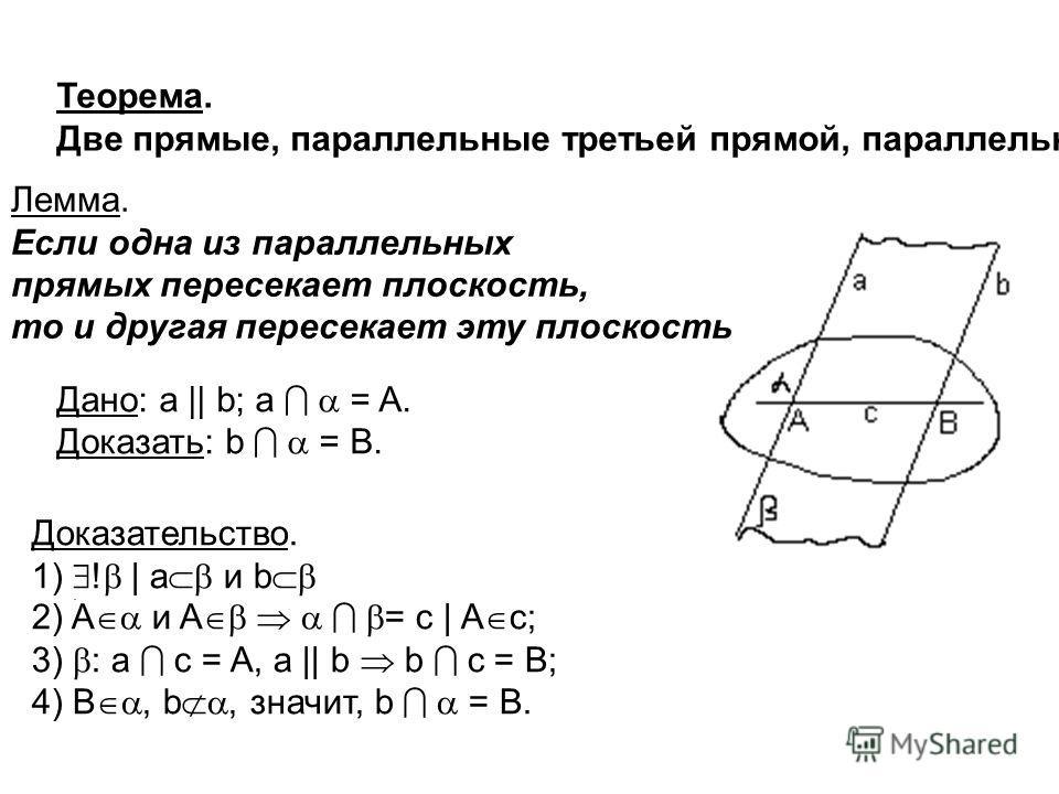Теорема. Две прямые, параллельные третьей прямой, параллельны.. Лемма. Если одна из параллельных прямых пересекает плоскость, то и другая пересекает эту плоскость Дано: а || b; a = A. Доказать: b = B. Доказательство. 1) ! | а и b 2) A и A = c | A c;