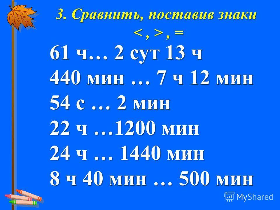 3. Сравнить, поставив знаки, =, = 61 ч… 2 сут 13 ч 440 мин … 7 ч 12 мин 54 с … 2 мин 22 ч …1200 мин 24 ч … 1440 мин 8 ч 40 мин … 500 мин