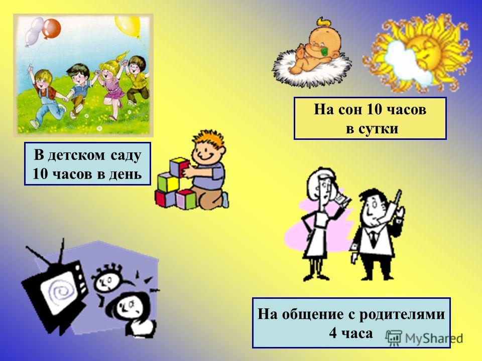 В детском саду 10 часов в день На сон 10 часов в сутки На общение с родителями 4 часа