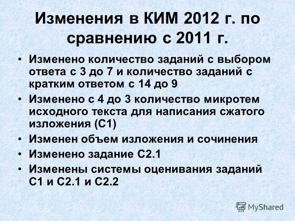 Изменения в КИМ 2012 г. по сравнению с 2011 г. Изменено количество заданий с выбором ответа с 3 до 7 и количество заданий с кратким ответом с 14 до 9 Изменено с 4 до 3 количество микротем исходного текста для написания сжатого изложения (С1) Изменен