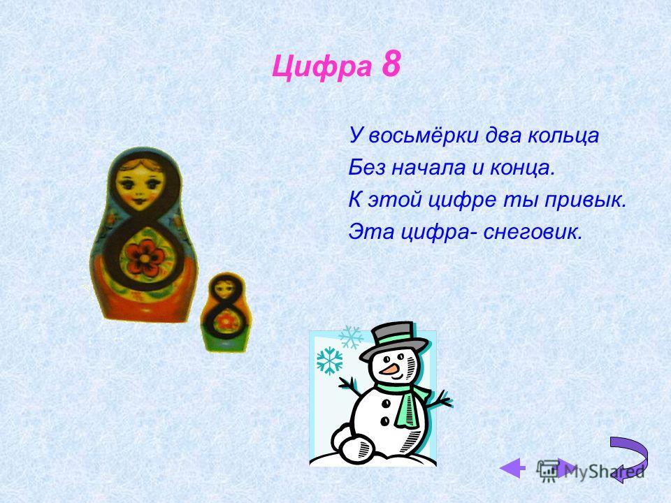 Цифра 8 У восьмёрки два кольца Без начала и конца. К этой цифре ты привык. Эта цифра- снеговик.
