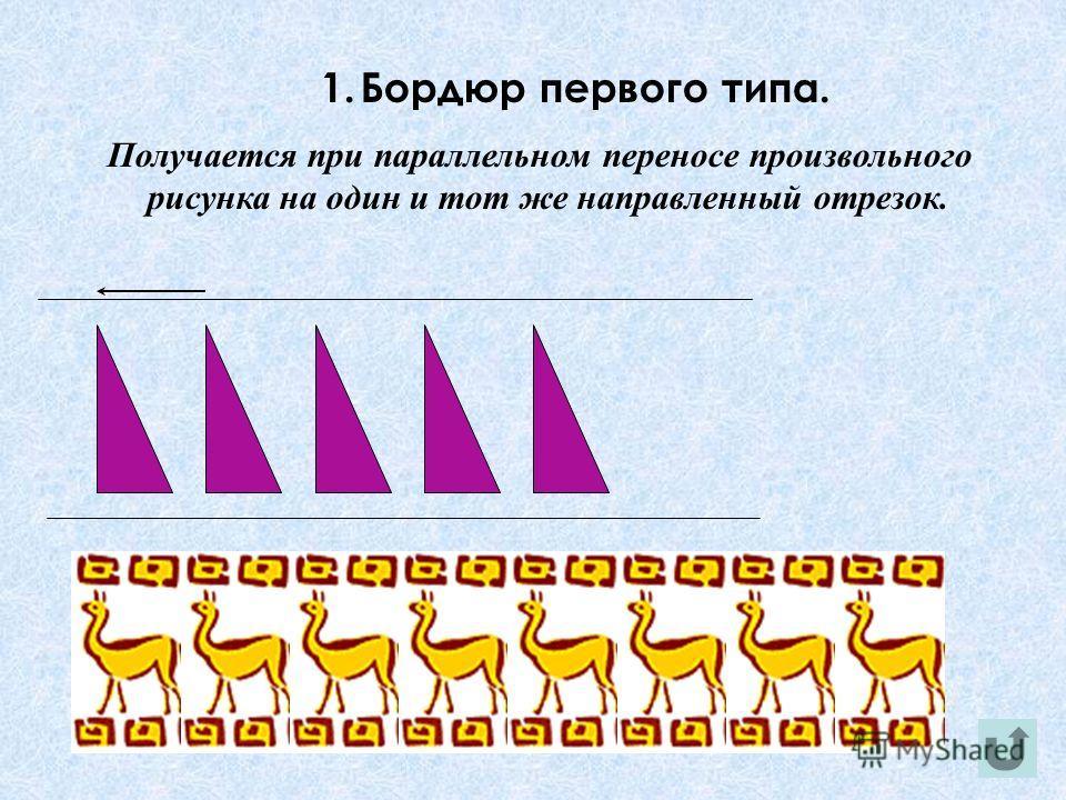 1.Бордюр первого типа. Получается при параллельном переносе произвольного рисунка на один и тот же направленный отрезок.