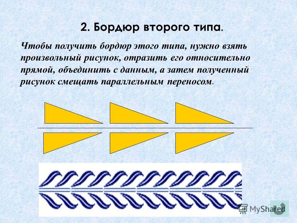 2. Бордюр второго типа. Чтобы получить бордюр этого типа, нужно взять произвольный рисунок, отразить его относительно прямой, объединить с данным, а затем полученный рисунок смещать параллельным переносом.