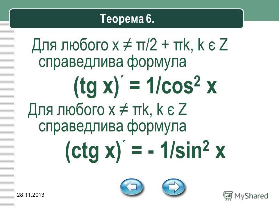28.11.2013 Теорема 6. Для любого х π/2 + πk, k є Z справедлива формула (tg x) ´ = 1/cos 2 x Для любого х πk, k є Z справедлива формула (ctg x) ´ = - 1/sin 2 x