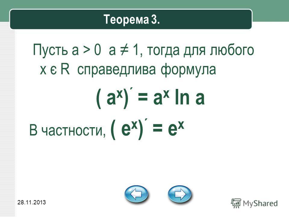 28.11.2013 Теорема 3. Пусть a > 0 a 1, тогда для любого х є R справедлива формула ( a x ) ´ = a x ln a В частности, ( е x ) ´ = е x