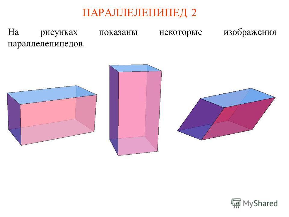 ПАРАЛЛЕЛЕПИПЕД 2 На рисунках показаны некоторые изображения параллелепипедов.