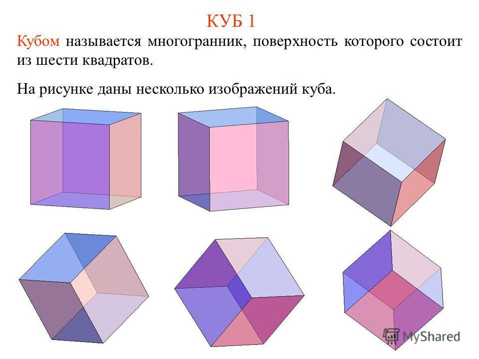 КУБ 1 Кубом называется многогранник, поверхность которого состоит из шести квадратов. На рисунке даны несколько изображений куба.