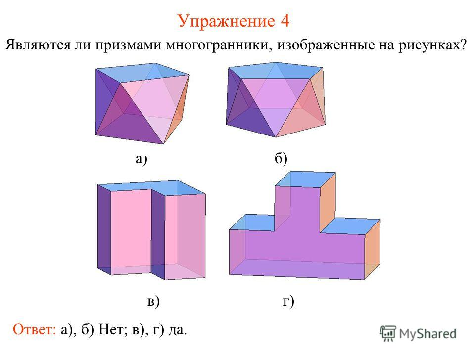 Упражнение 4 Являются ли призмами многогранники, изображенные на рисунках? а) б) в) г) Ответ: а), б) Нет; в), г) да.