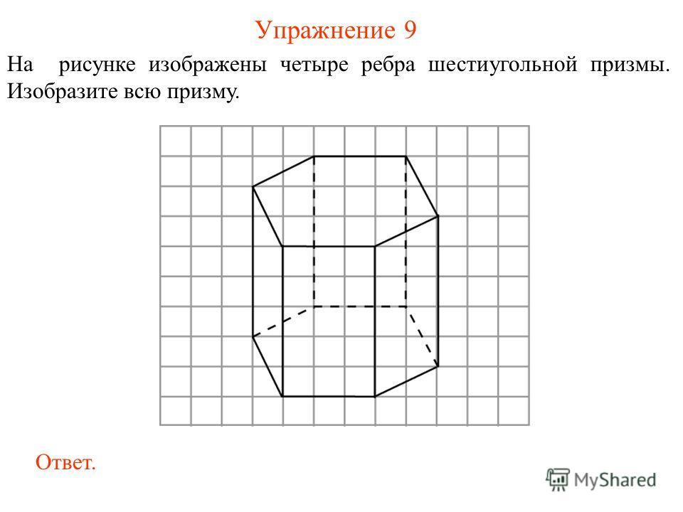 Упражнение 9 На рисунке изображены четыре ребра шестиугольной призмы. Изобразите всю призму. Ответ.