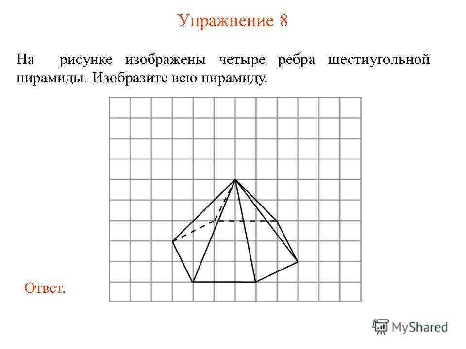 Упражнение 8 На рисунке изображены четыре ребра шестиугольной пирамиды. Изобразите всю пирамиду. Ответ.