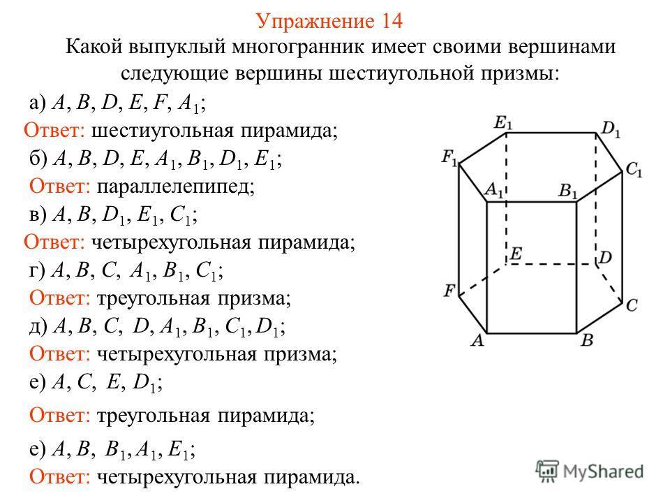 Упражнение 14 Какой выпуклый многогранник имеет своими вершинами следующие вершины шестиугольной призмы: Ответ: четырехугольная пирамида; а) A, B, D, E, F, A 1 ; б) A, B, D, E, A 1, B 1, D 1, E 1 ; в) A, B, D 1, E 1, C 1 ; Ответ: шестиугольная пирами
