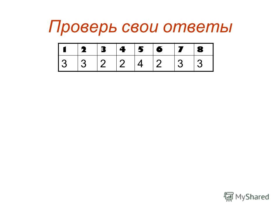 Проверь свои ответы 12345678 33224233