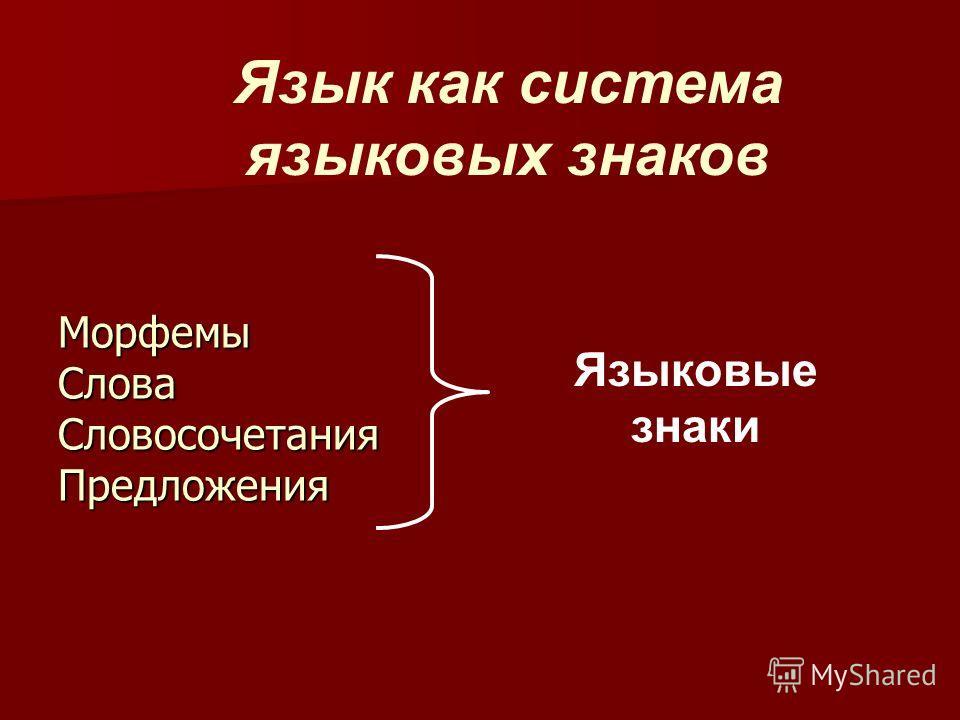 Морфемы Слова Словосочетания Предложения Языковые знаки Язык как система языковых знаков