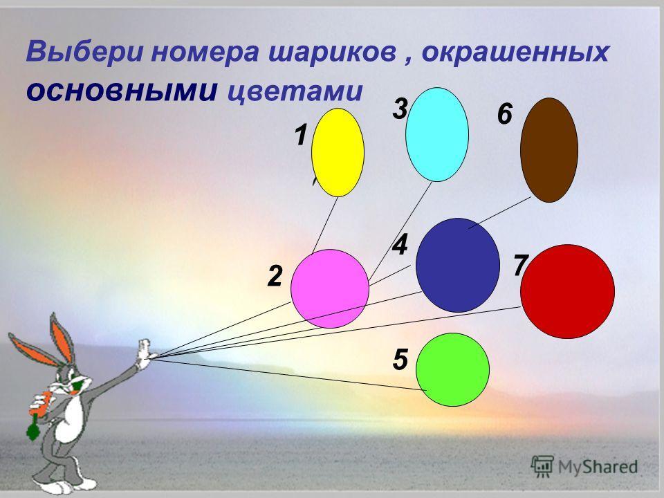 Выбери номера шариков, окрашенных основными цветами 1 2 3 4 5 6 7