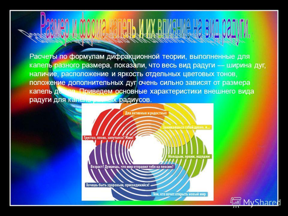 Расчеты по формулам дифракционной теории, выполненные для капель разного размера, показали, что весь вид радуги ширина дуг, наличие, расположение и яркость отдельных цветовых тонов, положение дополнительных дуг очень сильно зависят от размера капель