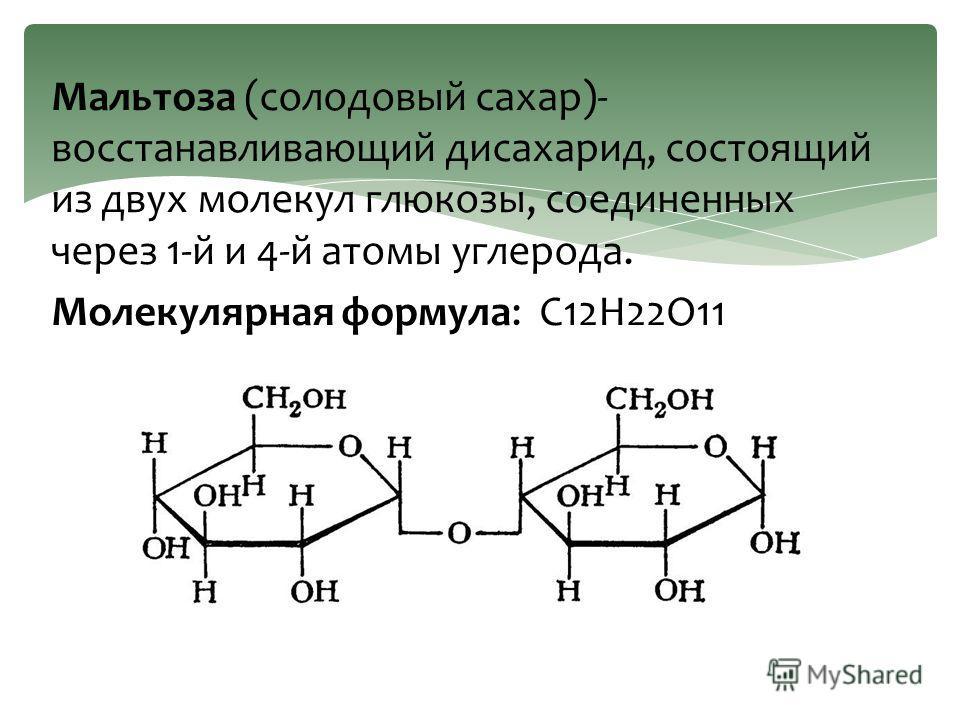 Мальтоза (солодовый сахар)- восстанавливающий дисахарид, состоящий из двух молекул глюкозы, соединенных через 1-й и 4-й атомы углерода. Молекулярная формула: C12H22O11