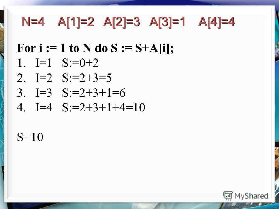 For i := 1 to N do S := S+A[i]; 1.I=1 S:=0+2 2.I=2 S:=2+3=5 3.I=3 S:=2+3+1=6 4.I=4 S:=2+3+1+4=10 S=10 N=4 A[1]=2 A[2]=3 A[3]=1 A[4]=4