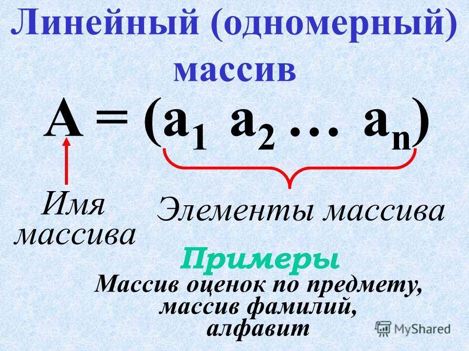 – структурированный тип данных, состоящий из фиксированного числа элементов одинакового типа, имеющих общее имя. Массив