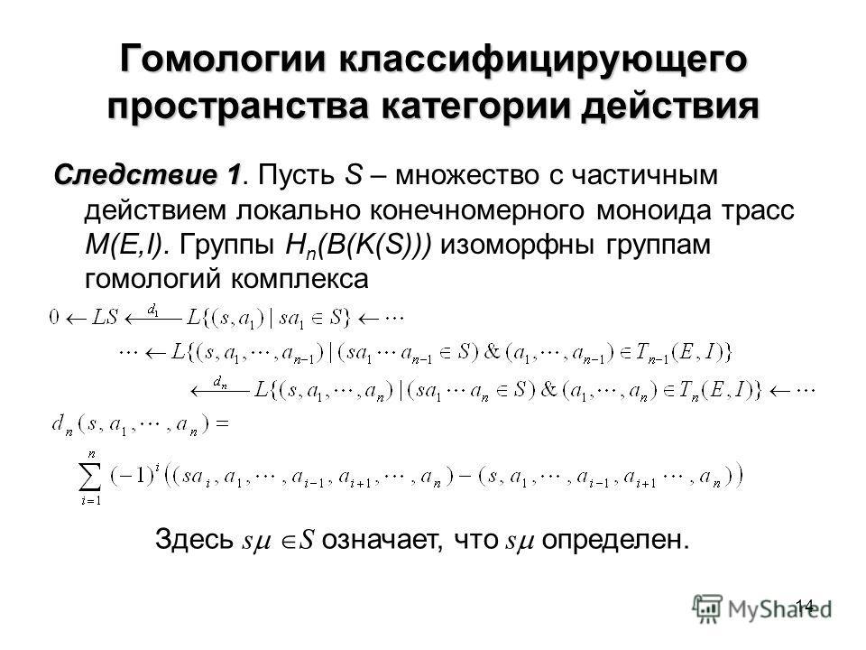 14 Гомологии классифицирующего пространства категории действия Следствие 1 Следствие 1. Пусть S – множество с частичным действием локально конечномерного моноида трасс M(E,I). Группы H n (B(K(S))) изоморфны группам гомологий комплекса Здесь s S означ