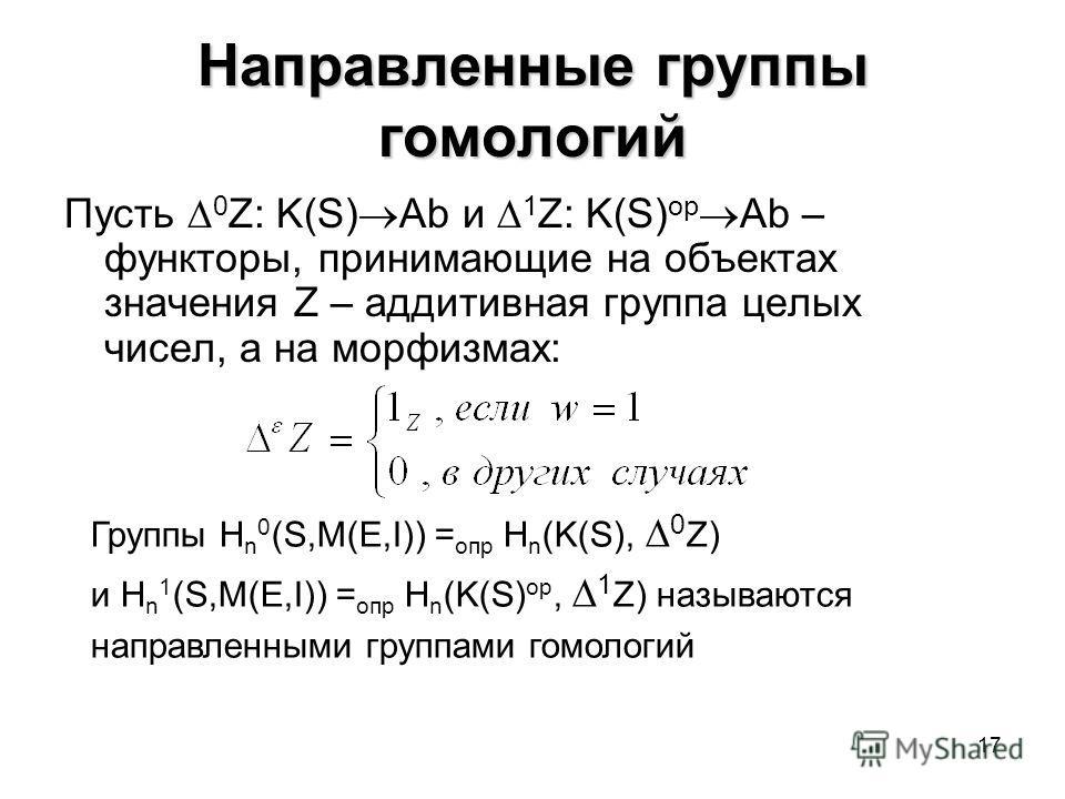 17 Направленные группы гомологий Пусть 0 Z: K(S) Ab и 1 Z: K(S) op Ab – функторы, принимающие на объектах значения Z – аддитивная группа целых чисел, а на морфизмах: Группы H n 0 (S,M(E,I)) = опр H n (K(S), 0 Z) и H n 1 (S,M(E,I)) = опр H n (K(S) op,