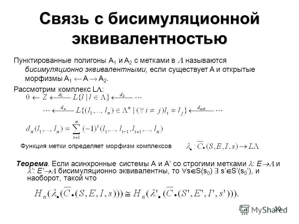 30 Связь с бисимуляционной эквивалентностью Теорема. Если асинхронные системы A и A со строгими метками : E и : E бисимуляционно эквивалентны, то s S(s 0 ) s S(s 0 ), и наоборот, такой что Пунктированные полигоны A 1 и A 2 с метками в называются биси