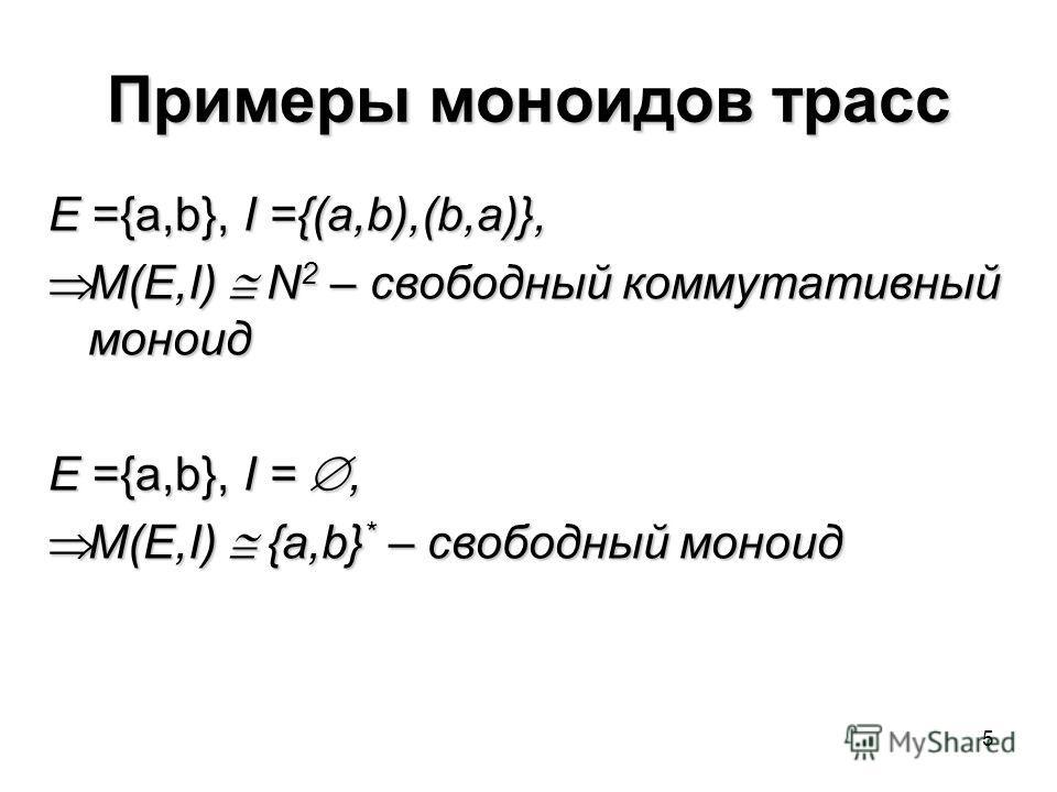 5 Примеры моноидов трасс E ={a,b}, I ={(a,b),(b,a)}, M(E,I) N 2 – свободный коммутативный моноид M(E,I) N 2 – свободный коммутативный моноид E ={a,b}, I =, M(E,I) {a,b} * – свободный моноид M(E,I) {a,b} * – свободный моноид