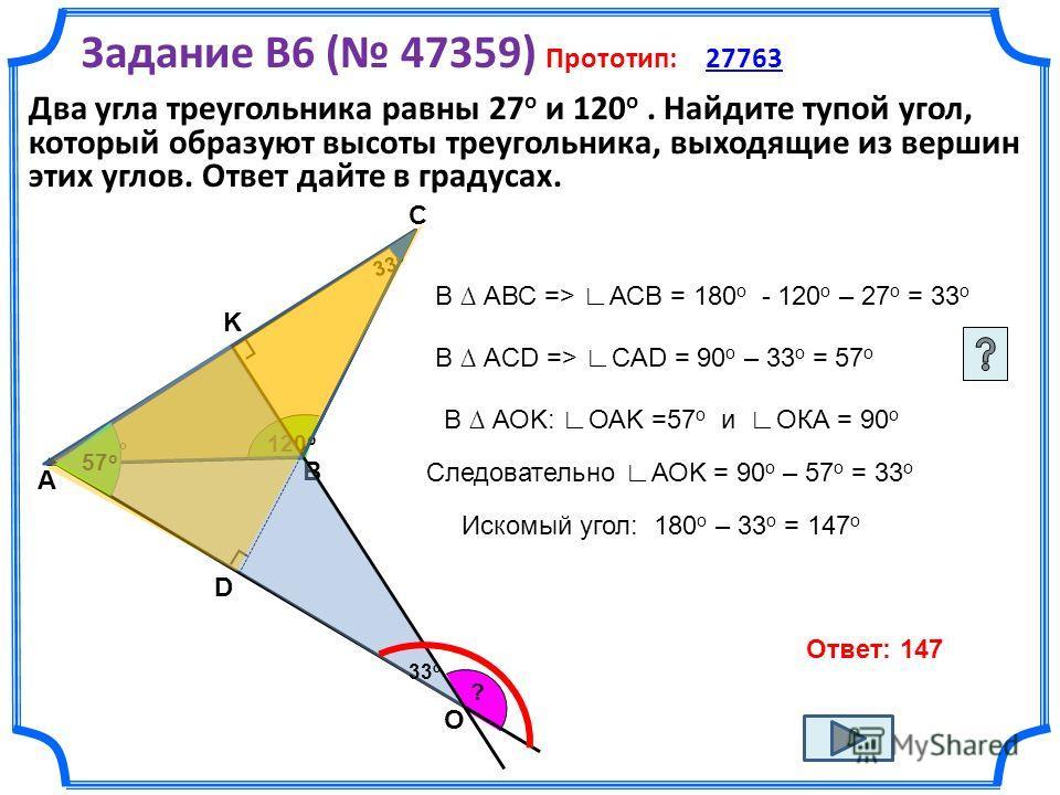 Задание B6 ( 47359) Прототип: 27763 27763 В АВС => АСВ = 180 о - 120 о – 27 о = 33 о В АCD => CАD = 90 о – 33 о = 57 о В АОK: ОАK =57 о и ОКА = 90 о Следовательно АОK = 90 о – 57 о = 33 о Ответ: 147 Два угла треугольника равны 27 о и 120 о. Найдите т