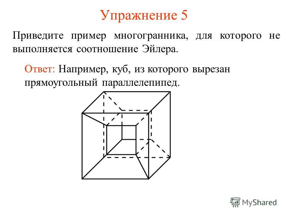 Упражнение 5 Приведите пример многогранника, для которого не выполняется соотношение Эйлера. Ответ: Например, куб, из которого вырезан прямоугольный параллелепипед.