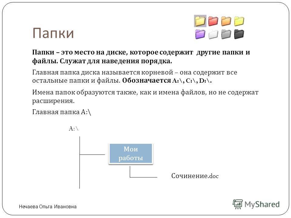 Папки Папки – это место на диске, которое содержит другие папки и файлы. Служат для наведения порядка. Главная папка диска называется корневой – она содержит все остальные папки и файлы. Обозначается A:\, C:\, D:\. Имена папок образуются также, как и