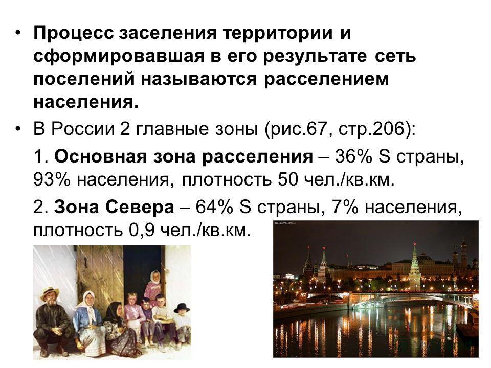 Процесс заселения территории и сформировавшая в его результате сеть поселений называются расселением населения. В России 2 главные зоны (рис.67, стр.206): 1. Основная зона расселения – 36% S страны, 93% населения, плотность 50 чел./кв.км. 2. Зона Сев