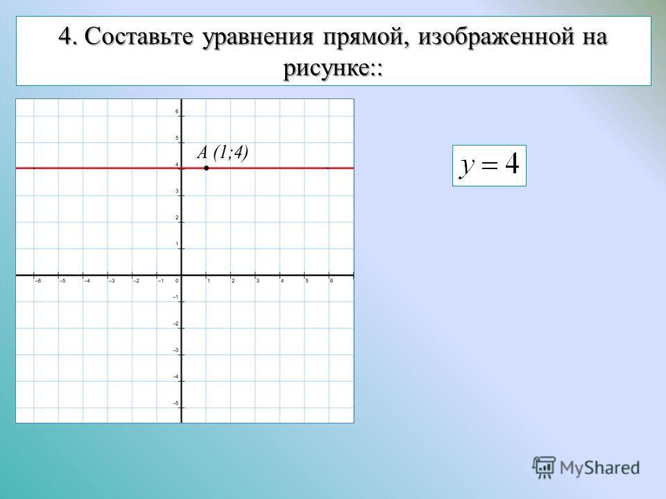 4. Составьте уравнения прямой, изображенной на рисунке::