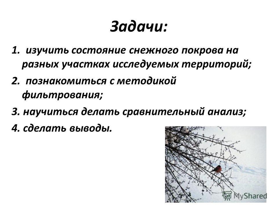 Задачи: 1. изучить состояние снежного покрова на разных участках исследуемых территорий; 2. познакомиться с методикой фильтрования; 3. научиться делать сравнительный анализ; 4. сделать выводы.