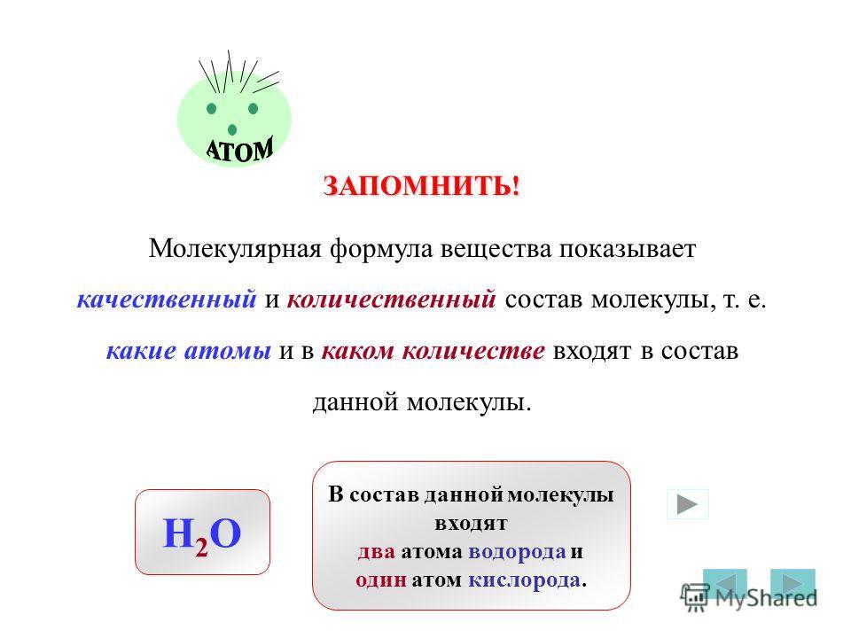 ЗАПОМНИТЬ! Молекулярная формула вещества показывает качественный и количественный состав молекулы, т. е. какие атомы и в каком количестве входят в состав данной молекулы. H2OH2O В состав данной молекулы входят два атома водорода и один атом кислорода