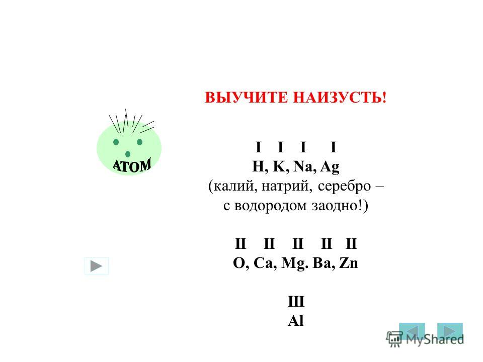 ВЫУЧИТЕ НАИЗУСТЬ! I I H, K, Na, Ag (калий, натрий, серебро – с водородом заодно!) II II II II II O, Ca, Mg. Ba, Zn III Al