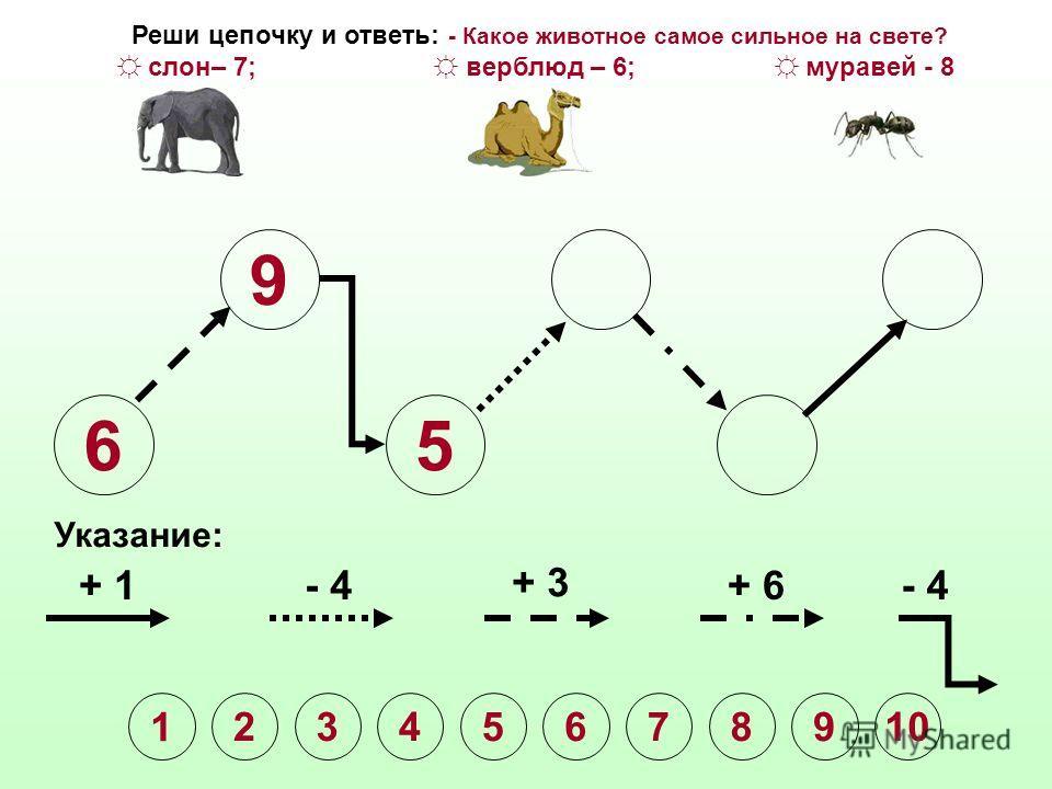 6 9 Указание: + 1- 4 + 3 + 6- 4 Реши цепочку и ответь: - Какое животное самое сильное на свете? слон– 7; верблюд – 6; муравей - 8 1 2345678910
