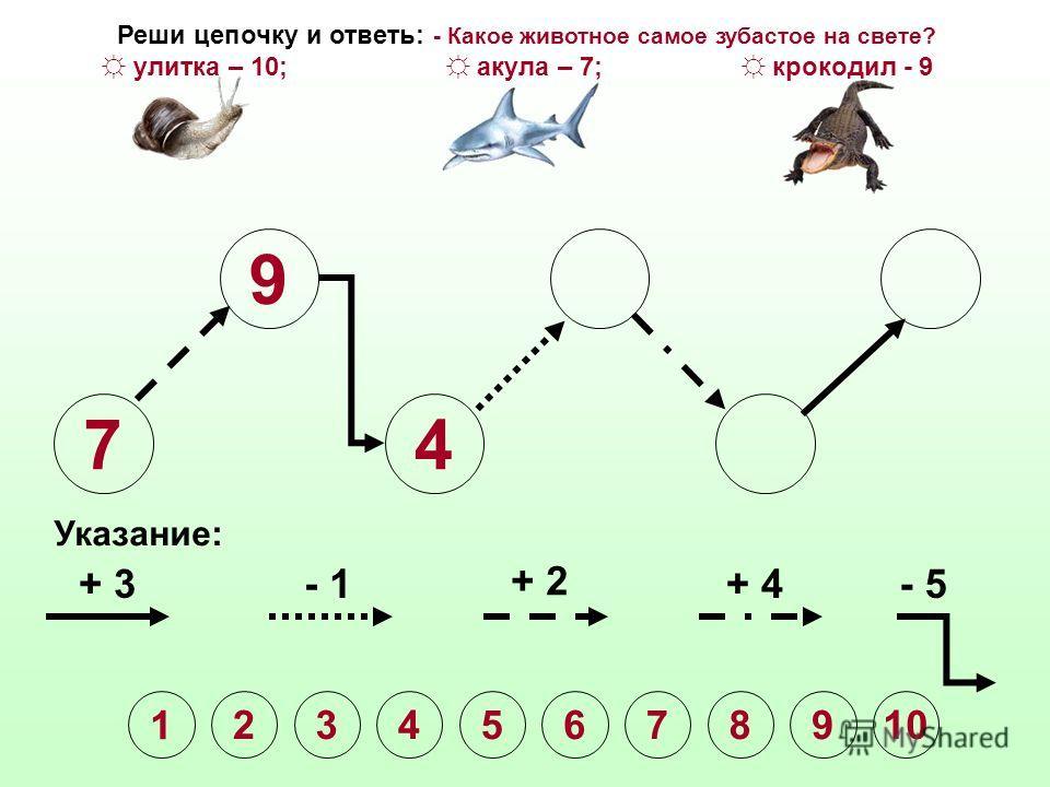 7 9 Указание: + 3- 1 + 2 + 4- 5 Реши цепочку и ответь: - Какое животное самое зубастое на свете? улитка – 10; акула – 7; крокодил - 9 1 2345678910