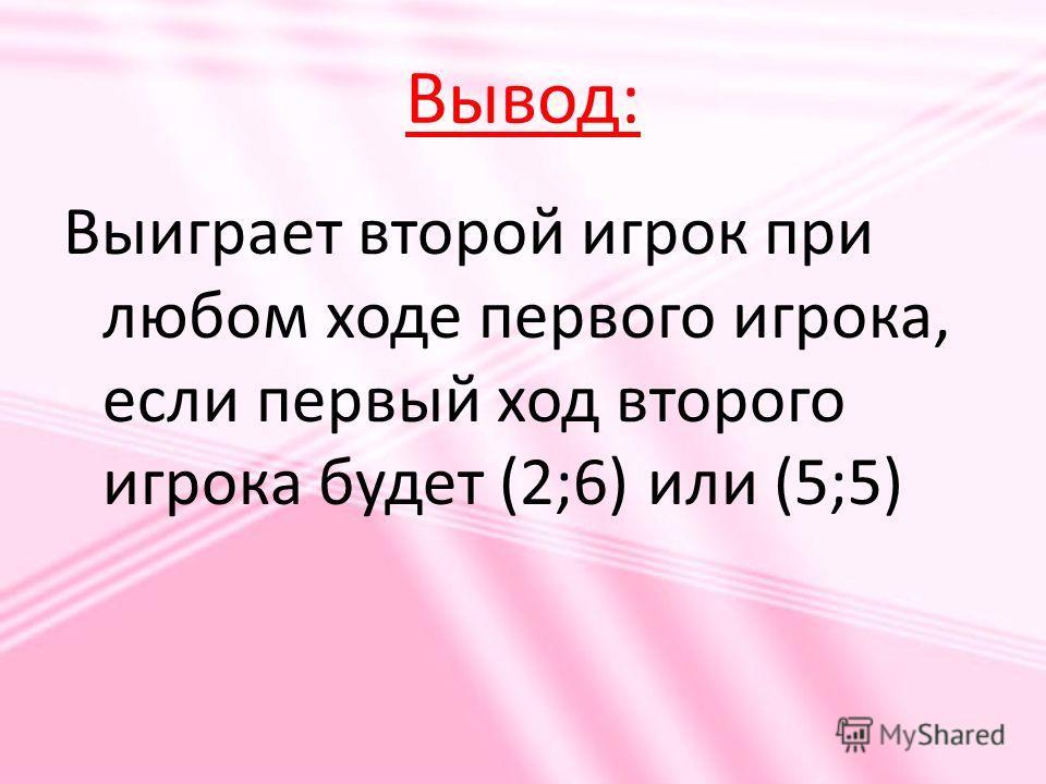 Вывод: Выиграет второй игрок при любом ходе первого игрока, если первый ход второго игрока будет (2;6) или (5;5)