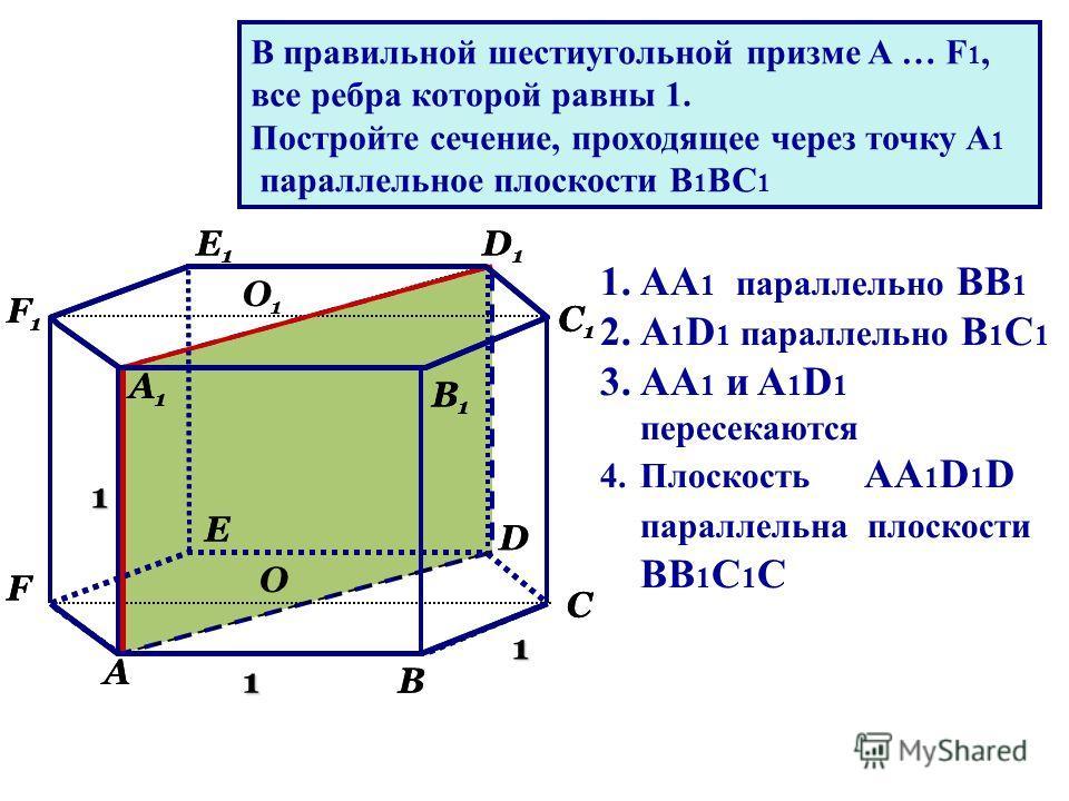 1 1 1 А В С D Е F А1А1 В1В1 С1С1 D1D1 Е1Е1 F1F1 О О1О1 В правильной шестиугольной призме A … F 1, все ребра которой равны 1. Постройте сечение, проходящее через точку А 1 параллельное плоскости В 1 ВС 1 1.АА 1 параллельно ВВ 1 2.А 1 D 1 параллельно В
